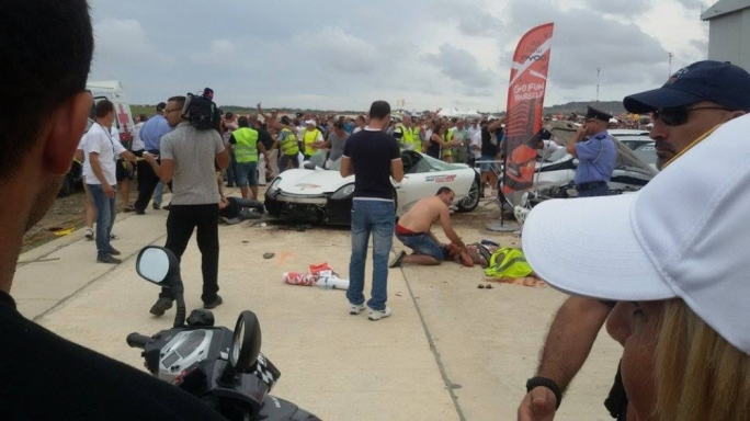 The scene of the incident after a supercar crashed into a crowd of onlookers • Photo by MaltaToday reader Claire Caruana