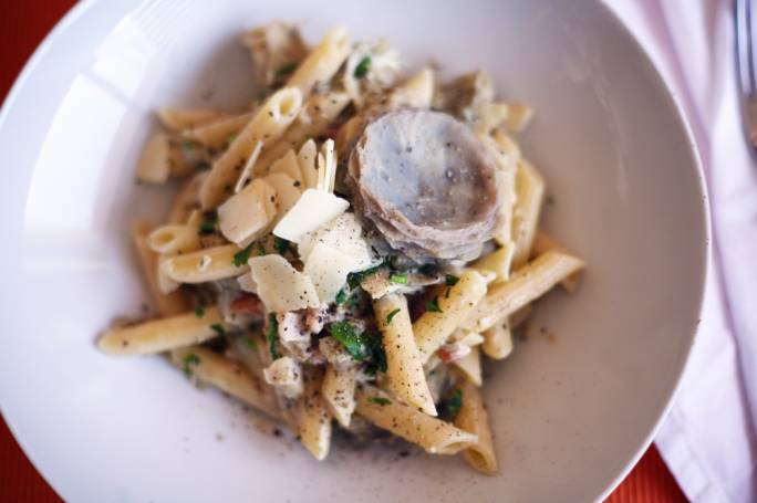 Penne with artichoke and pancetta