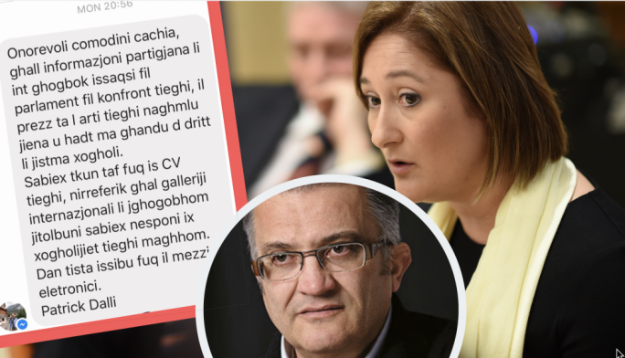 Nobody values my art... Patrick Dalli (inset) texted Nationalist MP Therese Comodini Cachia