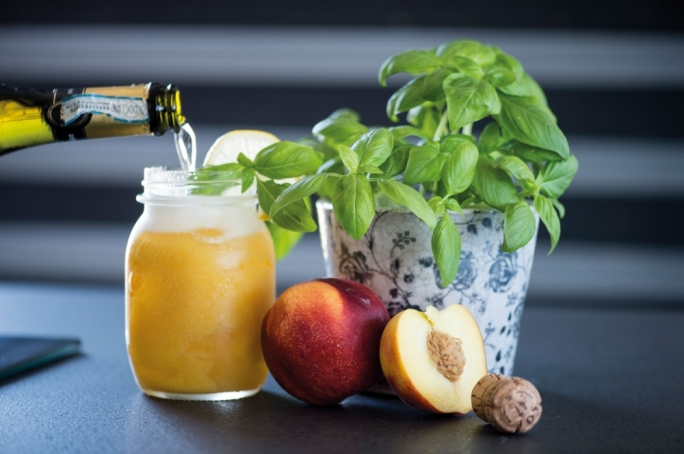 Peach, basil and bubbles