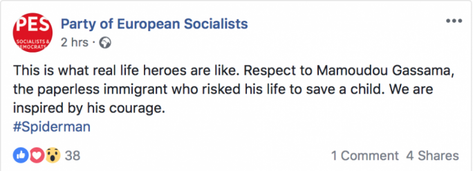 Mamoudou Gassama's brave rescue effort was also acknowledged by the Party of European Socialists