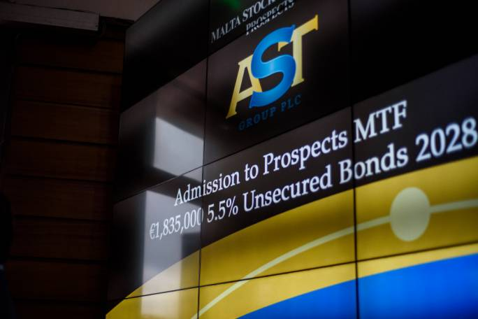 The admission of the AST Group plc €1,835,000 5.5% 2028 Bond on the Prospects MTF market displayed on the trading floor at the Malta Stock Exchange