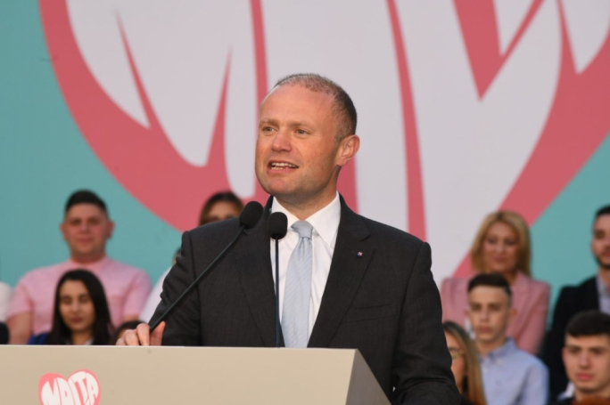 Joseph Muscat during a 2019 European election rally