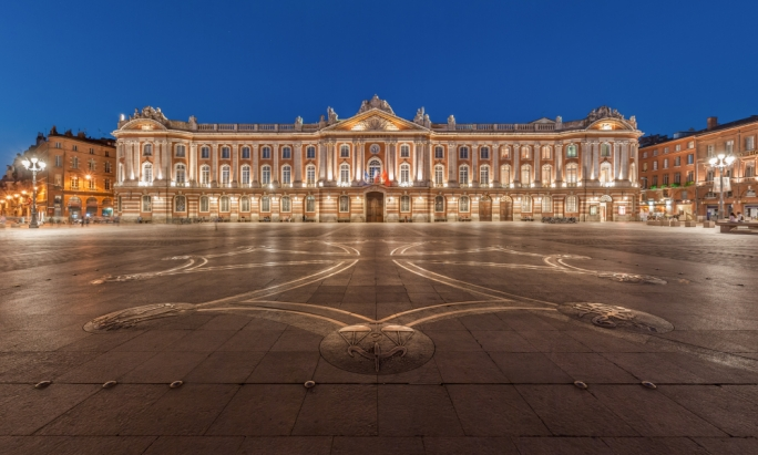 Place du Capitole is the heart of the city, with bustling cafes surrounding the town hall which dominates the square