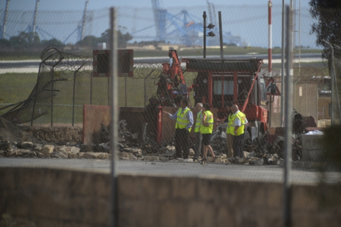 Transport Malta officials were on site Tuesday morning (Photo: Chris Mangion/MaltaToday)