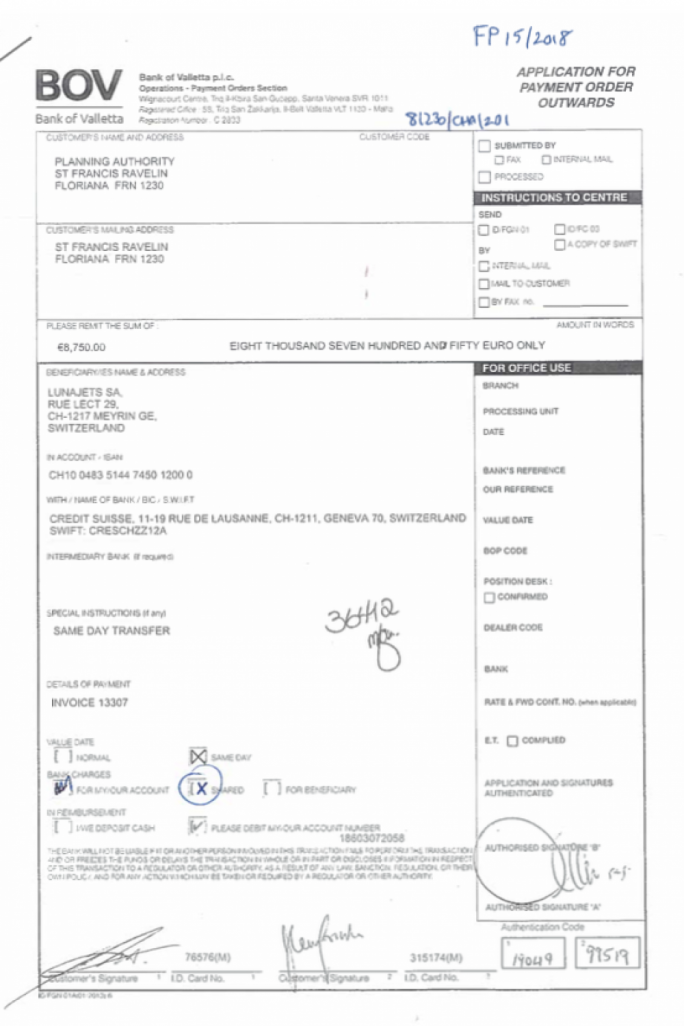 The receipt for the flight sent by the Planning Authority