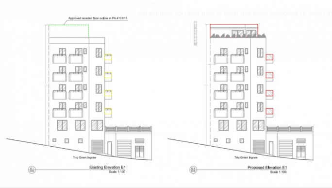 The plan on the left shows the receded floor approved in the past and the plan on the right shows the latest approved permit