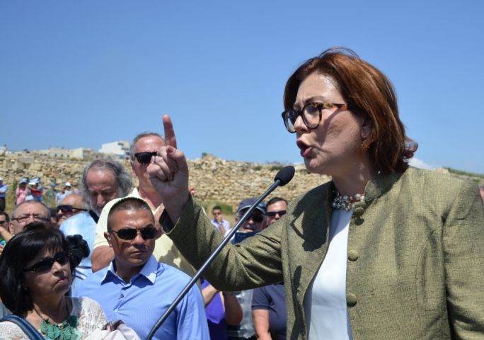 Independent MP Marlene Farrugia, seen here during a protest against the development of ODZ land at Zonqor Point, will table a motion in parliament to stop large-scale developments