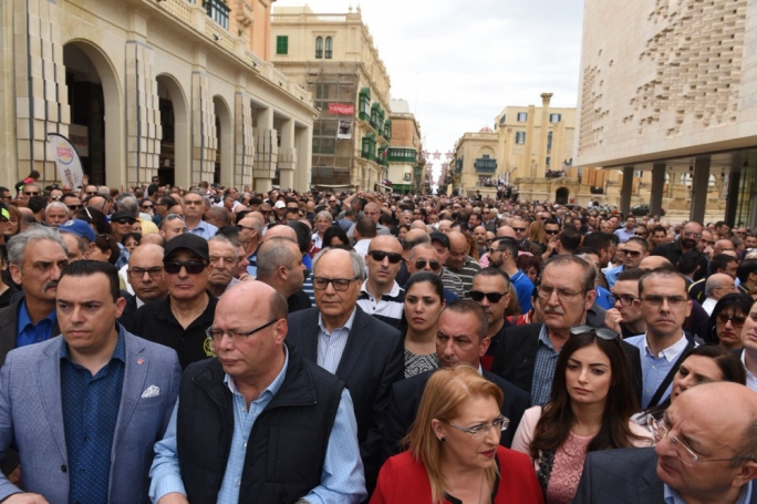 Thousands had attended a demonstration of solidarity with the police after the attack on PC Simon Schembri earlier this year