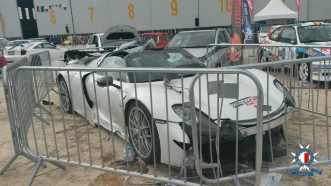 The Porsche 918 Spyder that crashed into the crowd at Hal Farrug in the 2015 Paqpaqli ghall-Istrina charity event • Photos: Malta Police Force