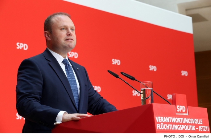 Prime Minister Joseph Muscat addresses Social Democratic Party conference on refugee policy in Berlin