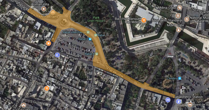 The roadworks will begin at the corner with a bank in the area and continue until Rabat cemetery