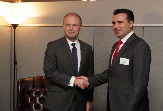 Muscat with Prime Minister of Macedonia, Zoran Zaev (Photo: DOI/Omar Camilleri)