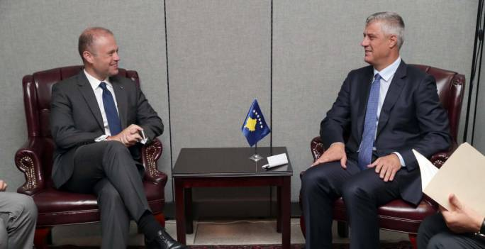 Joseph Muscat meeting with President of Kosovo, Hashim Thaci (Photo: DOI/Omar Camilleri)