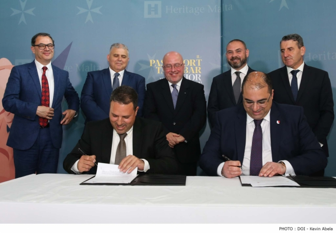 Government and Heritage Malta officials signing the memorandum of understanding