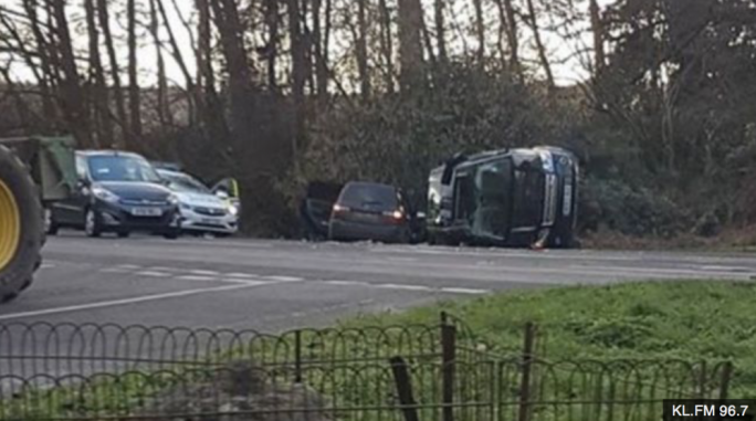 Prince Philip's Range Rover overturned in a collision with another car
