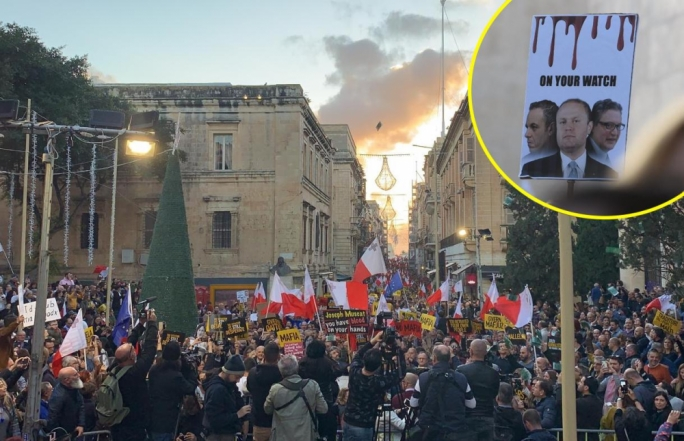 Thousands protest in Valletta, demanding the Prime Minister's resignation