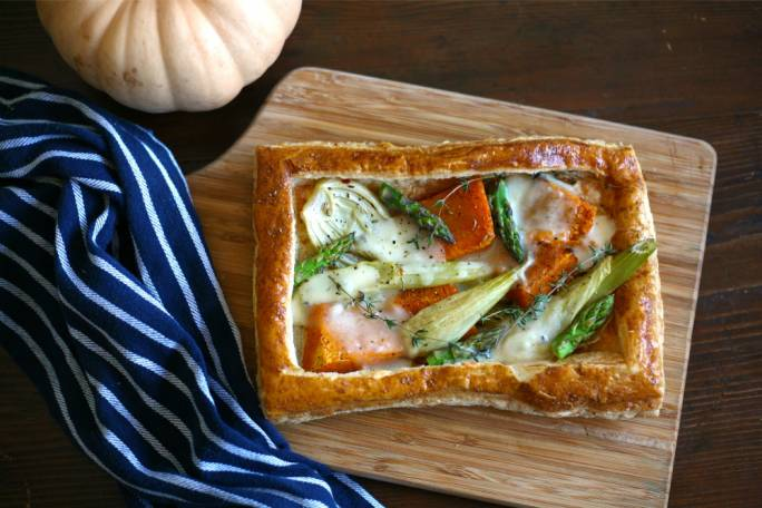 Pumpkin, fennel and Taleggio tart
