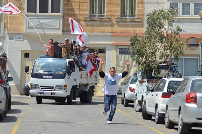 Hunters celebrate their referendum win in Qormi. Photo: John Pisani