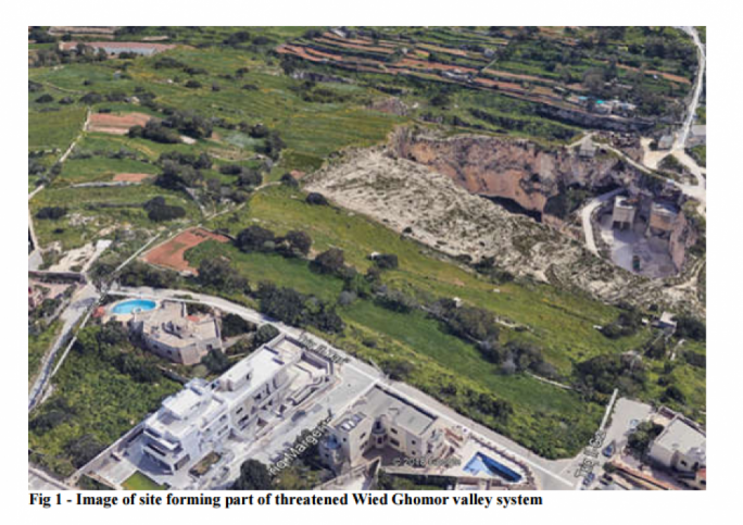 Rationalisation site along Triq it-Tari in Swieqi overlooking Wied Ghomor which is now being proposed for new dwellings