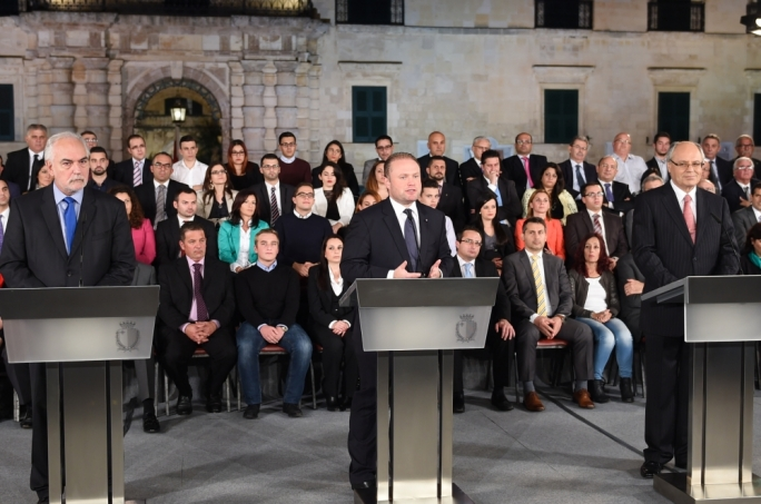 Prime Minister Joseph Muscat addresses a post-Budget conference outside parliament. Photo: Ray Attard