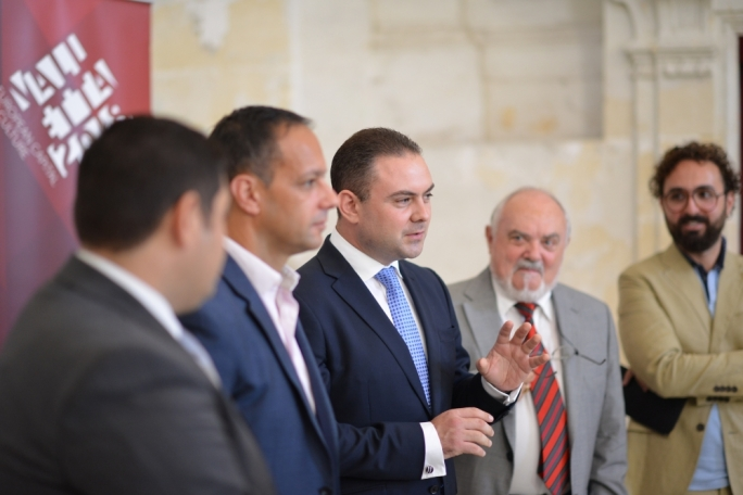 Culture minister Owen Bonnici (centre) addressing the press at St Mary Megdalene Church in Valletta (Photo by Ray Attard)
