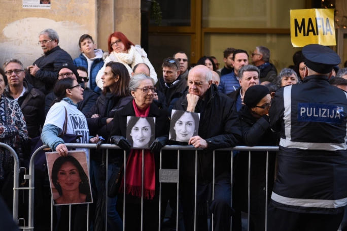 Assassinated journalist Daphne Caruana Galizia's parents are amongst the protesters