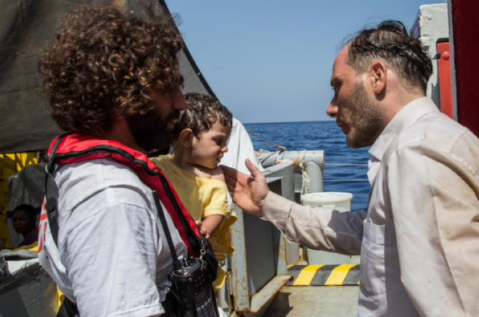 Azeel, aged only one, was saved by her father as she fell off the boat and went underwater. Photo: @msf_italia