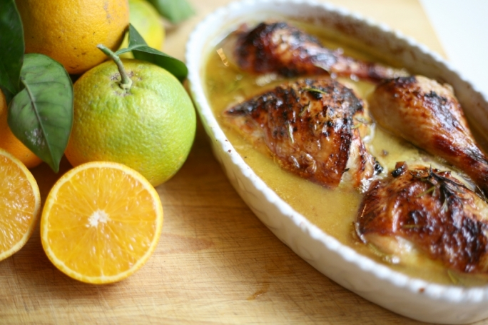 Baked chicken thighs in orange