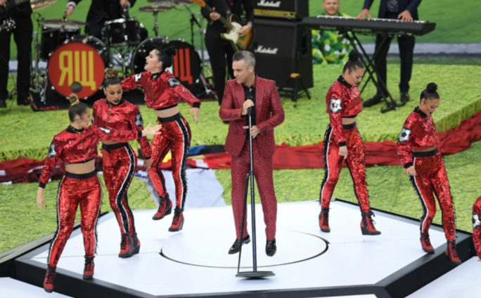 British singer Robbie Williams at the opening ceremony