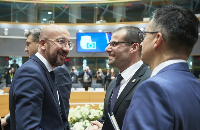 EU Council President Charles Michel (left) with Malta Prime Minister Robert Abela
