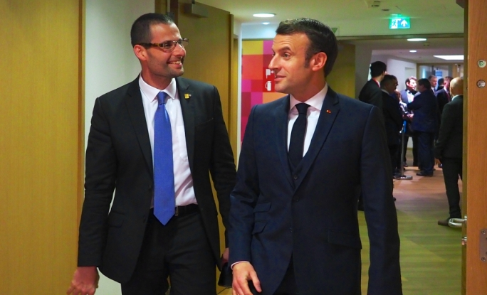 Malta PM Robert Abela with French president Emanuel Macron: a scheduled call did not take place on Saturday