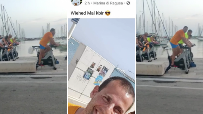 Work it! Robert Abela keeps up his fitness regime at the Marina di Ragusa. The photo at the centre was snapped by a well-wisher
