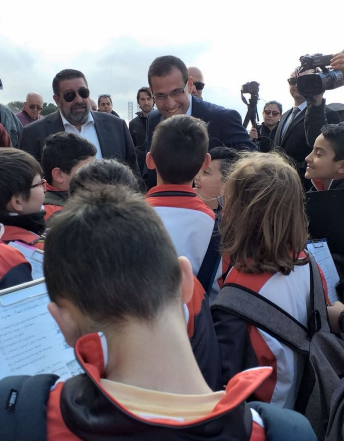 Say hello: Malta's new prime minister welcomes school children into Castille