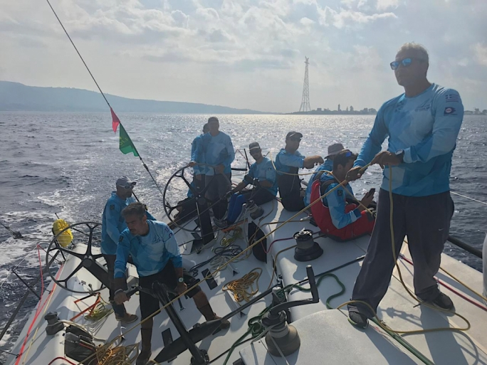 Optimum 3 crew on day two of the Rolex Middle Sea Race