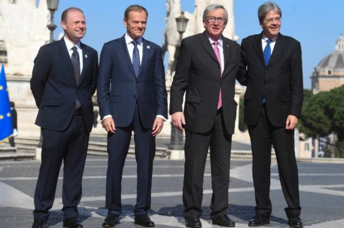 Prime Minister Joseph Muscat, Council President Donald Tusk, Commission President Jean-Claude Juncker and Italian PM Paolo Gentiloni led the celebrations in Rome