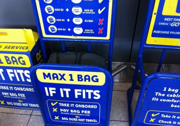 Does it fit? Travellers on Ryanair must now pay for their 10kg bag