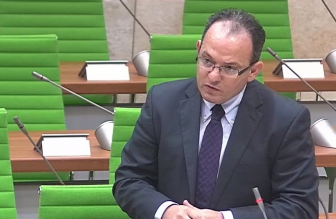 Opposition MP Chris Said delivers a speech in Parliament