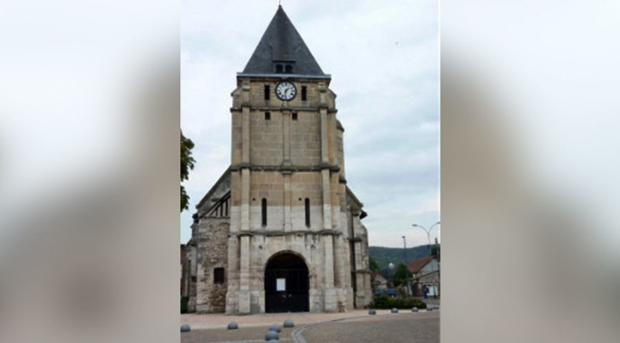 The church at Saint-Etienne-du-Rouvray, near Rouen in France where the hostages were taken.