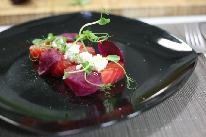 Beetroot cured salmon with homemade ricotta