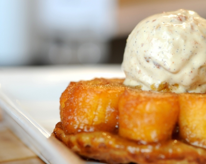 Banana tarte tatin with bacon and peanut butter ice cream
