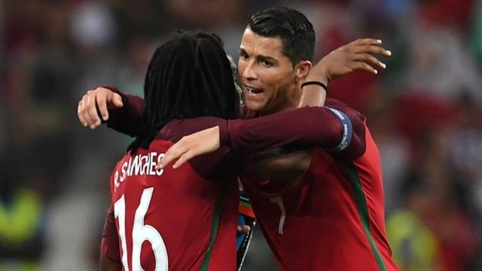 Renato Sanches of Portugal celebrating with Cristiano Ronaldo after scoring his first goal for his nation