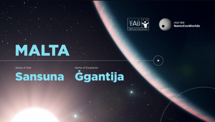 Malta picks Ġgantija and Sansuna for a planet and star in the Sagitta constellation