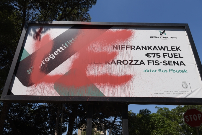 An Infrastructure Malta billboard in the locality was vandalised (Photo: James Bianchi)