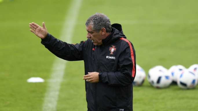 Portugal's manager, Fernando Santos, during yesterday's training session