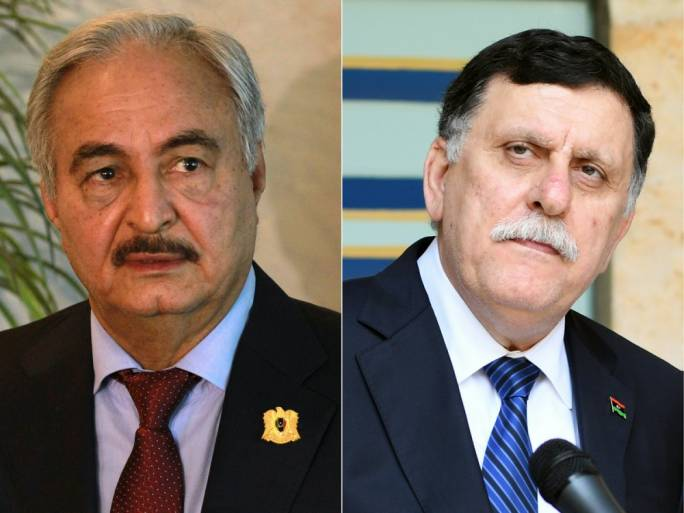 "France is hoping to ""facilitate a political agreement"" between Khalifa Haftar (left) and Fayez al-Sarraj (right)"