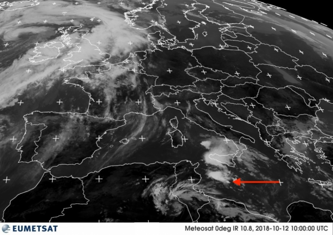 A satellite image from the Met Office showing thundery clouds over Malta at around noon