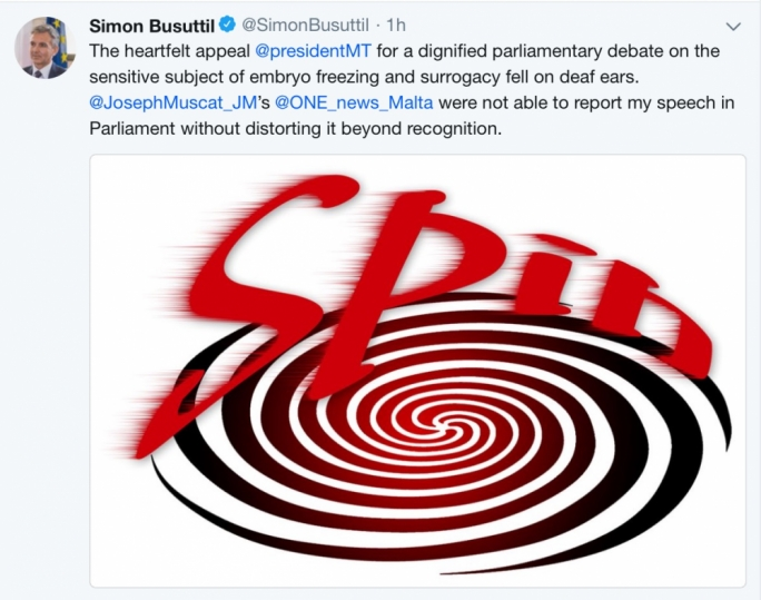 Simon Busuttil's tweet in reaction to the Labour Party's statements on his parliamentary comments