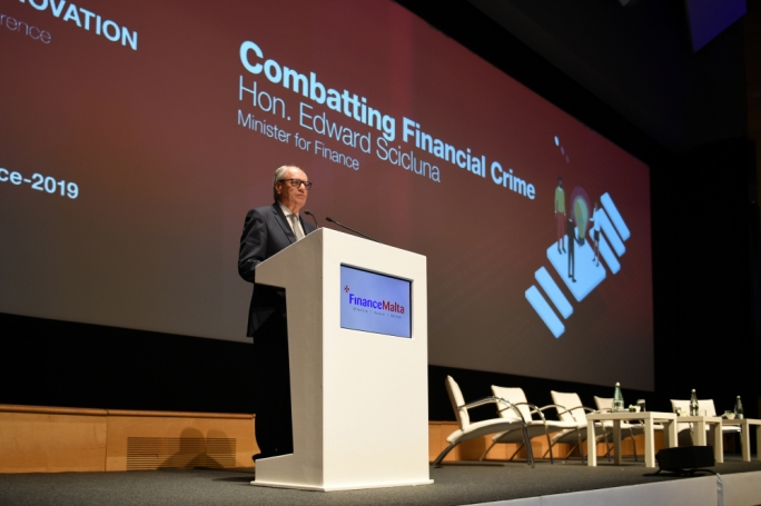 Finance Minister Edward Scicluna speaking at FinanceMalta's 12th annual conference on Thursday