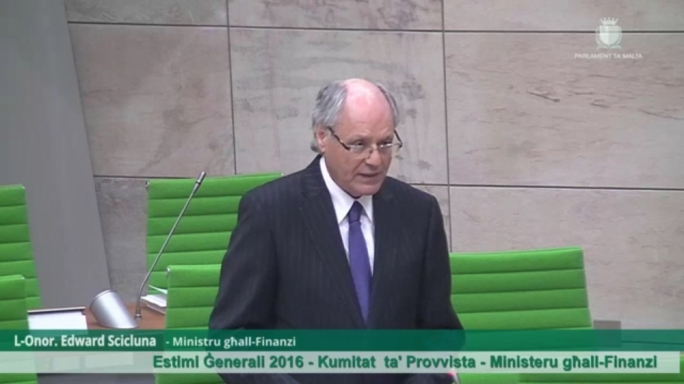 Finance minister Edward Scicluna delivers a speech in Parliament